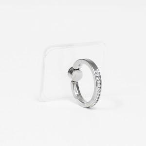 مسكة خاتم نسائية للأجهزة الذكية, متوافق مع كل الجوالات والتابلت , قاعدة شفافة مستطيلة - فضي