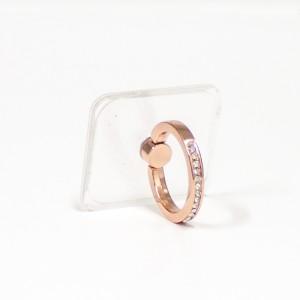 مسكة خاتم نسائية للأجهزة الذكية, متوافق مع كل الجوالات والتابلت , قاعدة شفافة مستطيلة - وردي