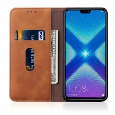 جراب هواوي هونر 8 إكس Huawei Honor 8x محفظة فليب جلد مع ستاند ومكان للبطاقات - بني فاتح