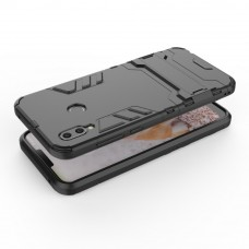 كفر هواوي هونر بلاي Huawei Honor Play كفر متين بغطاء خلفي صلب مع ستاند - فضي