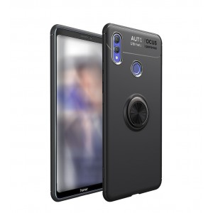 كفر هواوي هونر بلاي Huawei Honor Play مرن بالكامل مع مسكة خاتم - اسود