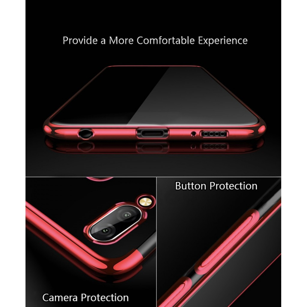 كفر هواوي هونر بلاي Huawei Honor Play مرن بالكامل شفاف بحدود - احمر