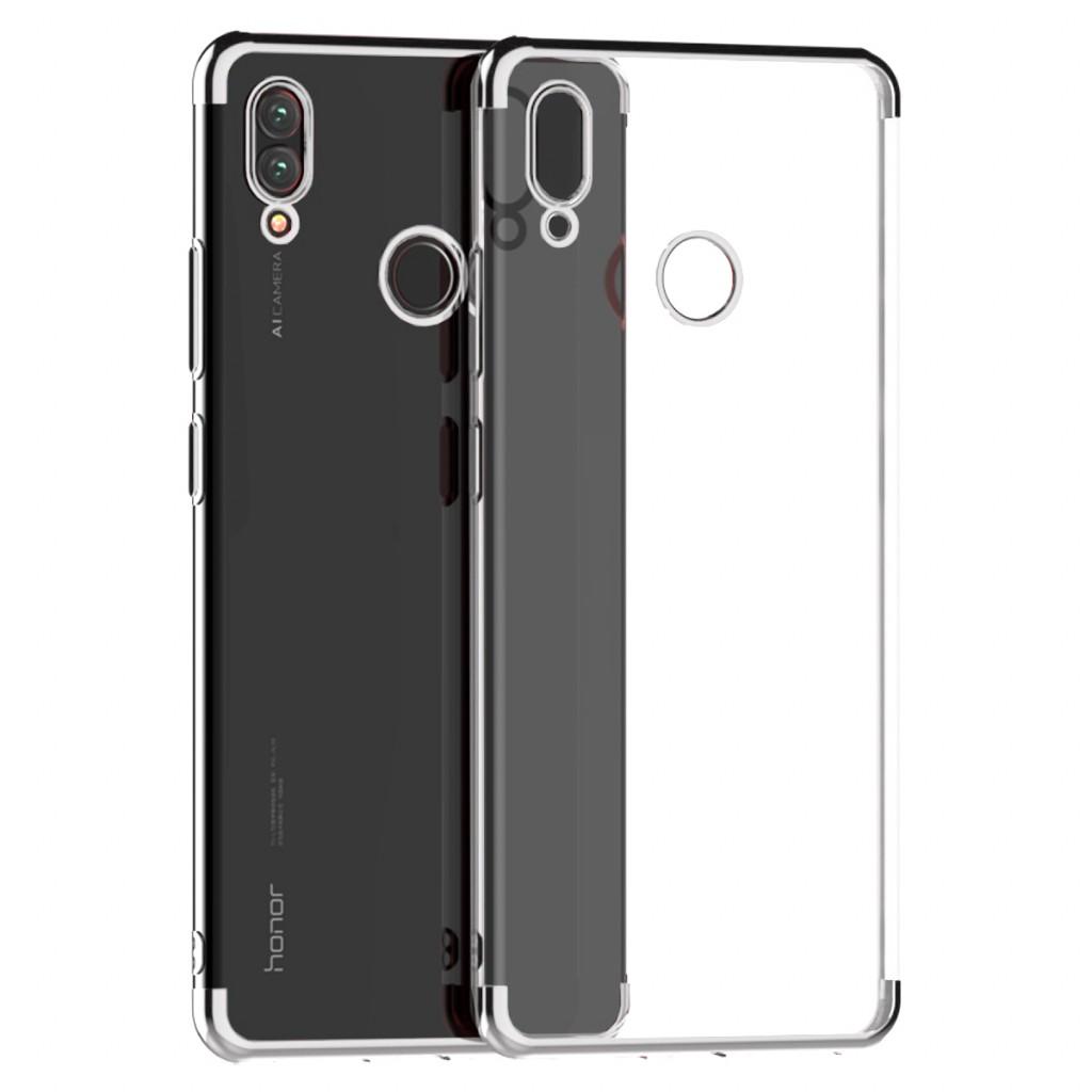 كفر هواوي هونر بلاي Huawei Honor Play مرن بالكامل شفاف بحدود - فضي
