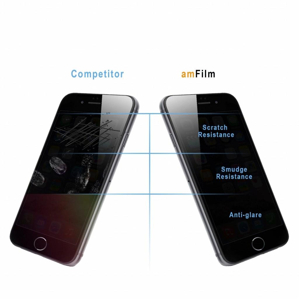 واقي شاشه زجاجي -استكر زجاج- ايفون 7 / ايفون 8 , iPhone 7 / iPhone 8 من ماركة أم فيلم amFilm وضوح عالي مقاوم التبقع - حبتين