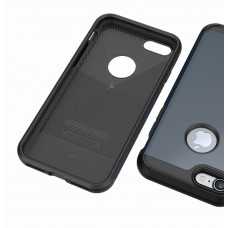 كفر ايفون 7 / ايفون 8 , iPhone 7 / iPhone 8 ماركة كيسولوجي Caseology قطعتين كفر مرن اسود وغطاء خلفي صلب - كحلي