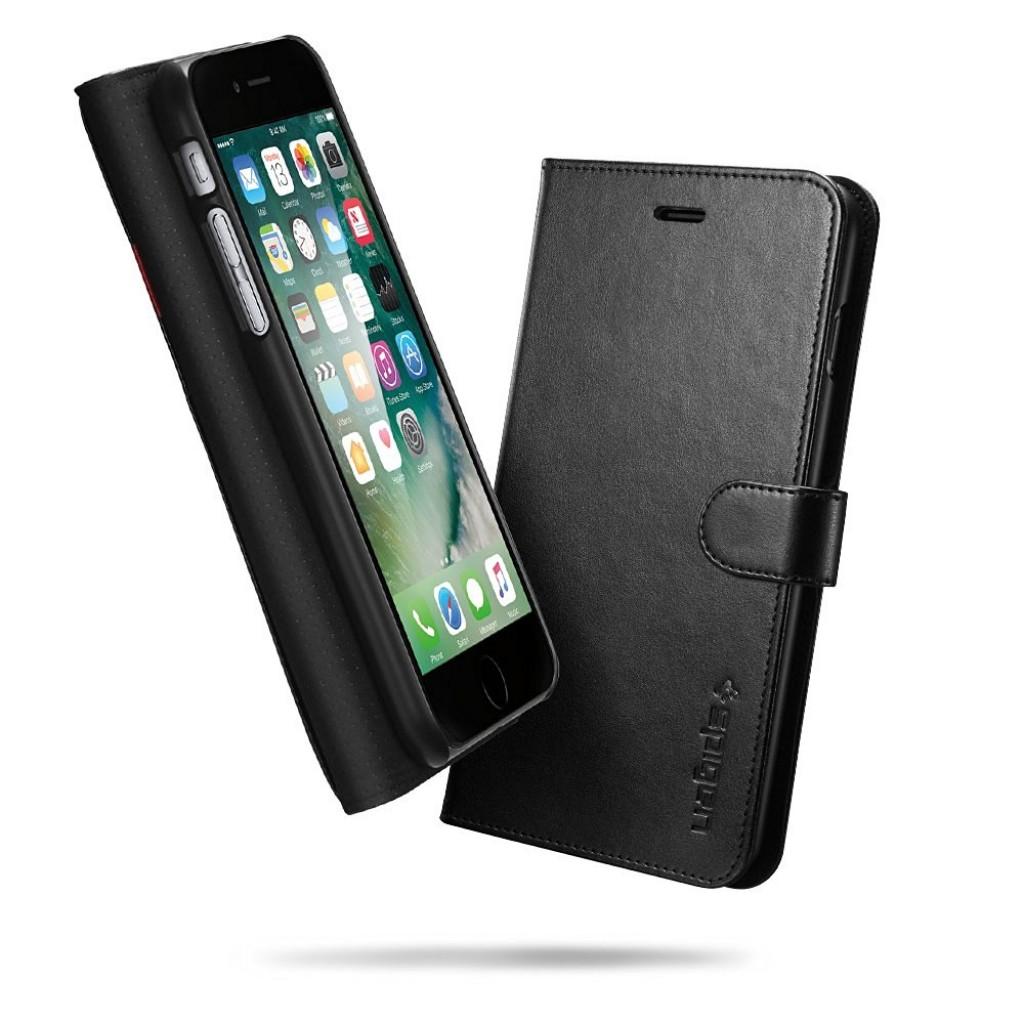 جراب ايفون 7 بلس/ ايفون 8 بلس , iPhone 7 plus / iPhone 8 plus ماركة سبايجن Spigen محفظة جلد مع مكان للبطاقات والنقود بستاند - اسود