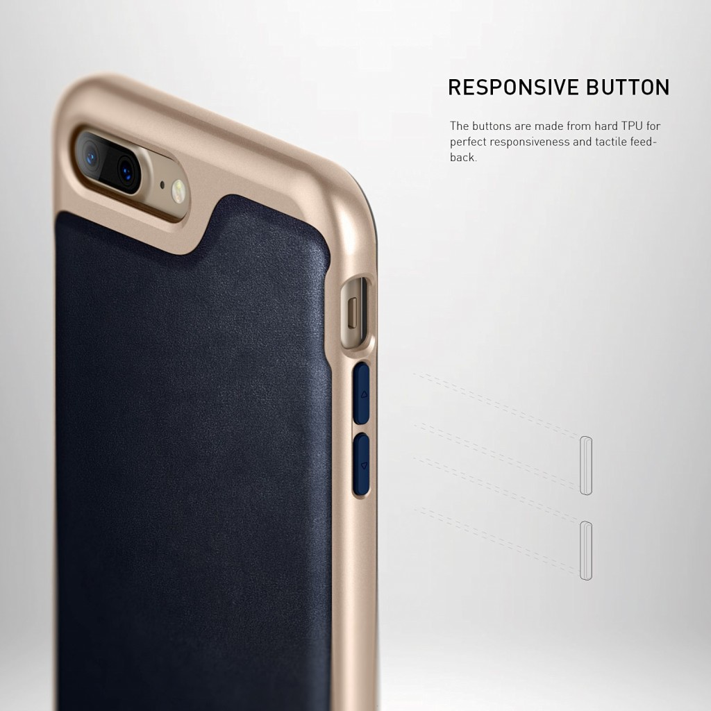 كفر ايفون 7 بلس/ ايفون 8 بلس , iPhone 7 plus / iPhone 8 plus ماركة كيسولوجي Caseology قطعتين كفر مرن كحلي وإطار صلب - ذهبي