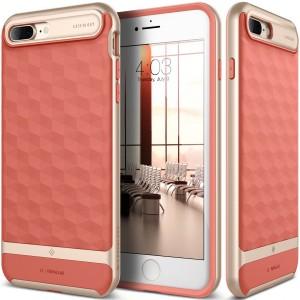 كفر ايفون 7 بلس/ ايفون 8 بلس , iPhone 7 plus / iPhone 8 plus ماركة كيسولوجي Caseology قطعتين كفر مرن وردي وإطار صلب - ذهبي