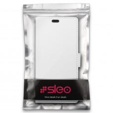 جراب نوكيا 8 (إصدار 2017) Nokia 8 ماركة سليو SLEO محفظة جلد مع مكان للبطاقات وستاند - ابيض