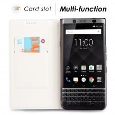 جراب بلاك بيري كي ون BlackBerry KEYone ماركة فيلي ViLi محفظة فليب جلد مع ستاند ومكان للبطاقات - ابيض