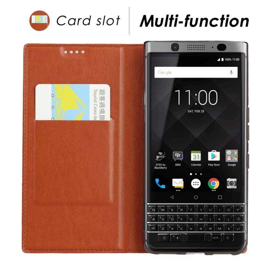 جراب بلاك بيري كي ون BlackBerry KEYone ماركة فيلي ViLi محفظة فليب جلد مع ستاند ومكان للبطاقات - بني