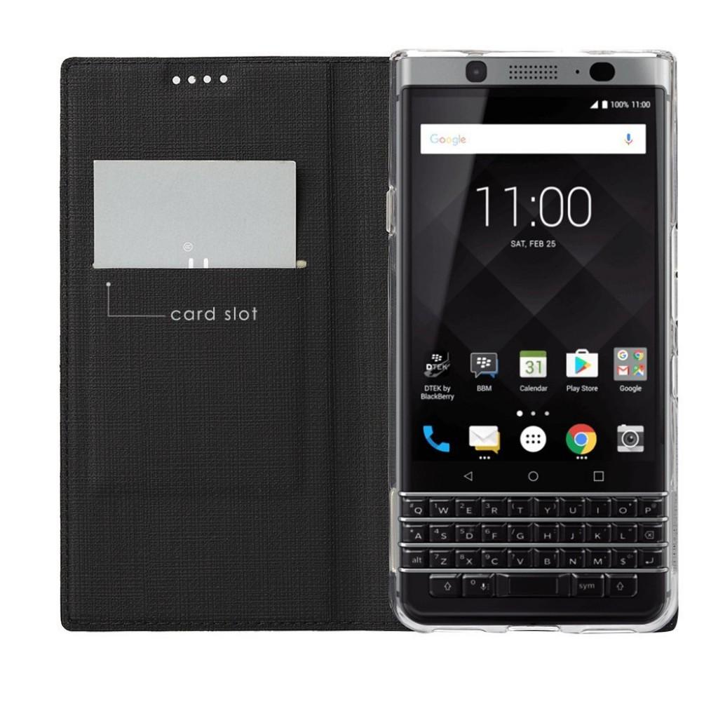 جراب بلاك بيري كي ون BlackBerry KEYone ماركة فيلي ViLi محفظة فليب مع ستاند ومكان للبطاقات - اسود