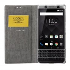 جراب بلاك بيري كي ون BlackBerry KEYone ماركة فيلي ViLi محفظة فليب مع ستاند ومكان للبطاقات - رمادي