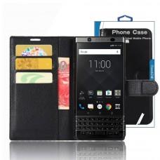 جراب بلاك بيري كي ون BlackBerry KEYone ماركة توب ايس TopAce محفظة جلد مع مكان للبطاقات وستاند - اسود