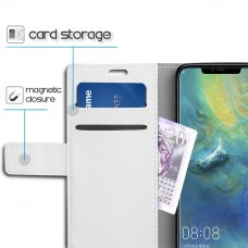 جراب هواوي مايت 20 برو Huawei Mate 20 Pro ماركة سليو SLEO محفظة جلد مع مكان للبطاقات وستاند - ابيض