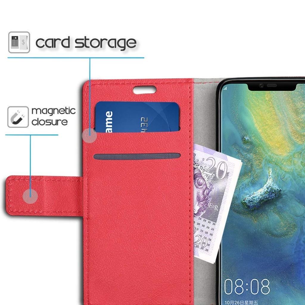 جراب هواوي مايت 20 برو Huawei Mate 20 Pro ماركة سليو SLEO محفظة جلد مع مكان للبطاقات وستاند - احمر
