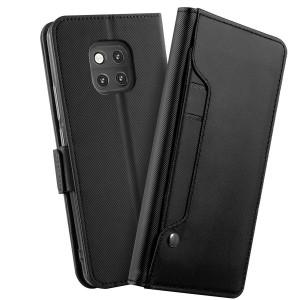 جراب هواوي مايت 20 برو Huawei Mate 20 Pro محفظة جلد مع مكان للبطاقات وستاند - اسود