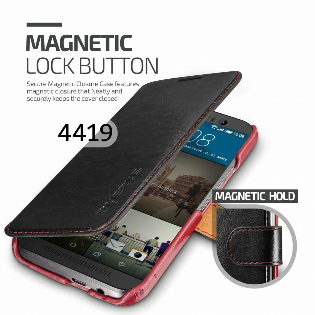جراب اتش تي سي ون ام 9 HTC One M9 ماركة فيروس Verus محفظة جلد مع مكان للبطاقات - اسود
