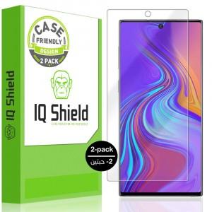 واقي شاشة جالكسي نوت 10 Galaxy Note 10 ماركة آي كيو شيلد IQ Shield استكر مقاوم الفقاعات متوافق مع الجرابات - 2 حبتين
