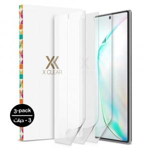 واقي شاشة جالكسي نوت 10 Galaxy Note 10 ماركة إكس كلير Xclear استكر عادي متوافق مع الجرابات - 3 حبات