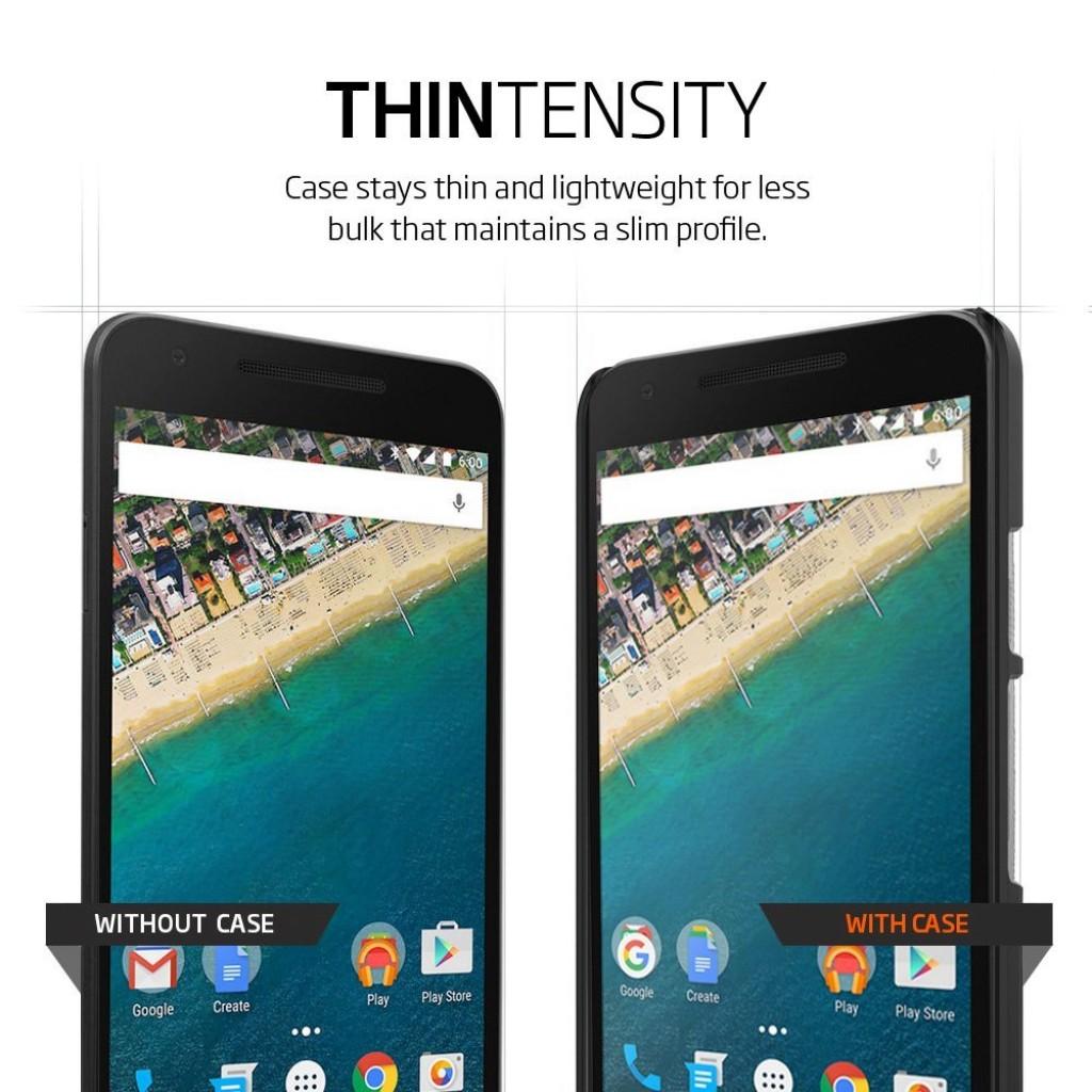 كفر قوقل نكسوس 5 اكس Google Nexus 5X ماركة سبايجن Spigen رفيع صلب بالكامل - اسود