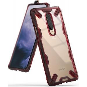 كفر ون بلس 7 برو OnePlus 7 Pro ماركة رينجكي Ringke صلب من الخلف وإطار مرن متين تصميم فيوجن إكس - احمر شفاف