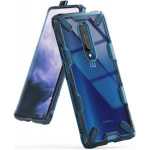 كفر ون بلس 7 برو OnePlus 7 Pro ماركة رينجكي Ringke صلب من الخلف وإطار مرن متين تصميم فيوجن إكس - ازرق شفاف