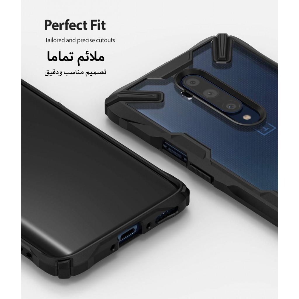 كفر ون بلس 7 تي برو OnePlus 7T Pro ماركة رينجكي Ringke صلب من الخلف وإطار مرن متين تصميم فيوجن إكس - اسود