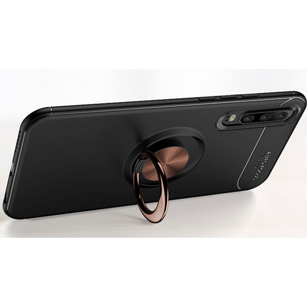 كفر هواوي بي 30 لايت Huawei P30 Lite مرن بالكامل مع مسكة خاتم - اسود و نحاسي