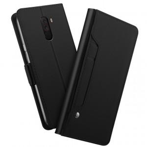 جراب شاومي بوكوفون اف 1 Xiaomi Pocophone F1 محفظة جلد مع مكان للبطاقات وستاند - اسود