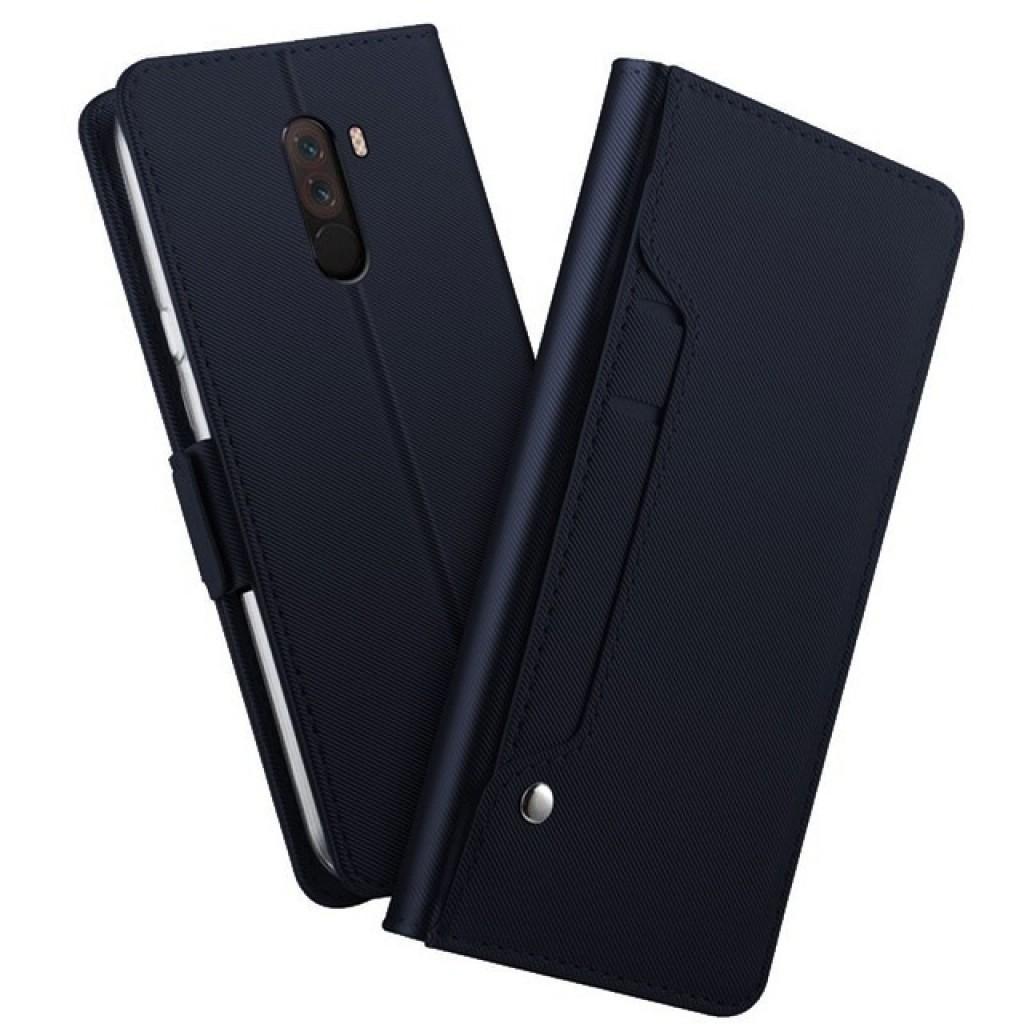 جراب شاومي بوكوفون اف 1 Xiaomi Pocophone F1 محفظة جلد مع مكان للبطاقات وستاند - كحلي