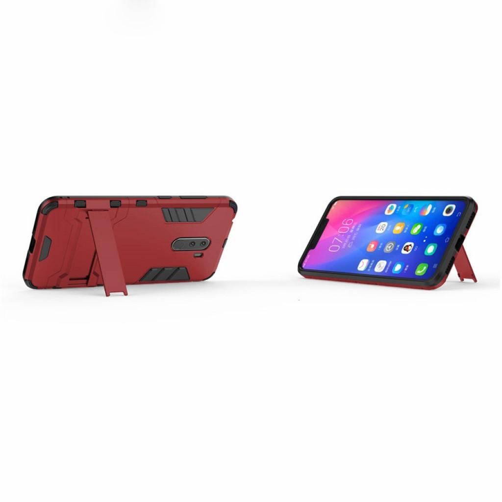 كفر شاومي بوكوفون اف 1 Xiaomi Pocophone F1 كفر متين بغطاء خلفي صلب مع ستاند - اسود واحمر