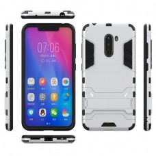 كفر شاومي بوكوفون اف 1 Xiaomi Pocophone F1 كفر متين بغطاء خلفي صلب مع ستاند - اسود وفضي