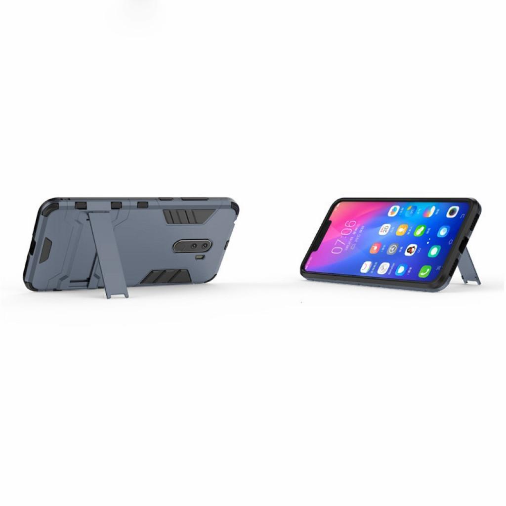 كفر شاومي بوكوفون اف 1 Xiaomi Pocophone F1 كفر متين بغطاء خلفي صلب مع ستاند - اسود وكحلي