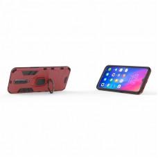 كفر شاومي بوكوفون اف 1 Xiaomi Pocophone F1 كفر متين بغطاء خلفي صلب مع مسكة خاتم - اسود واحمر
