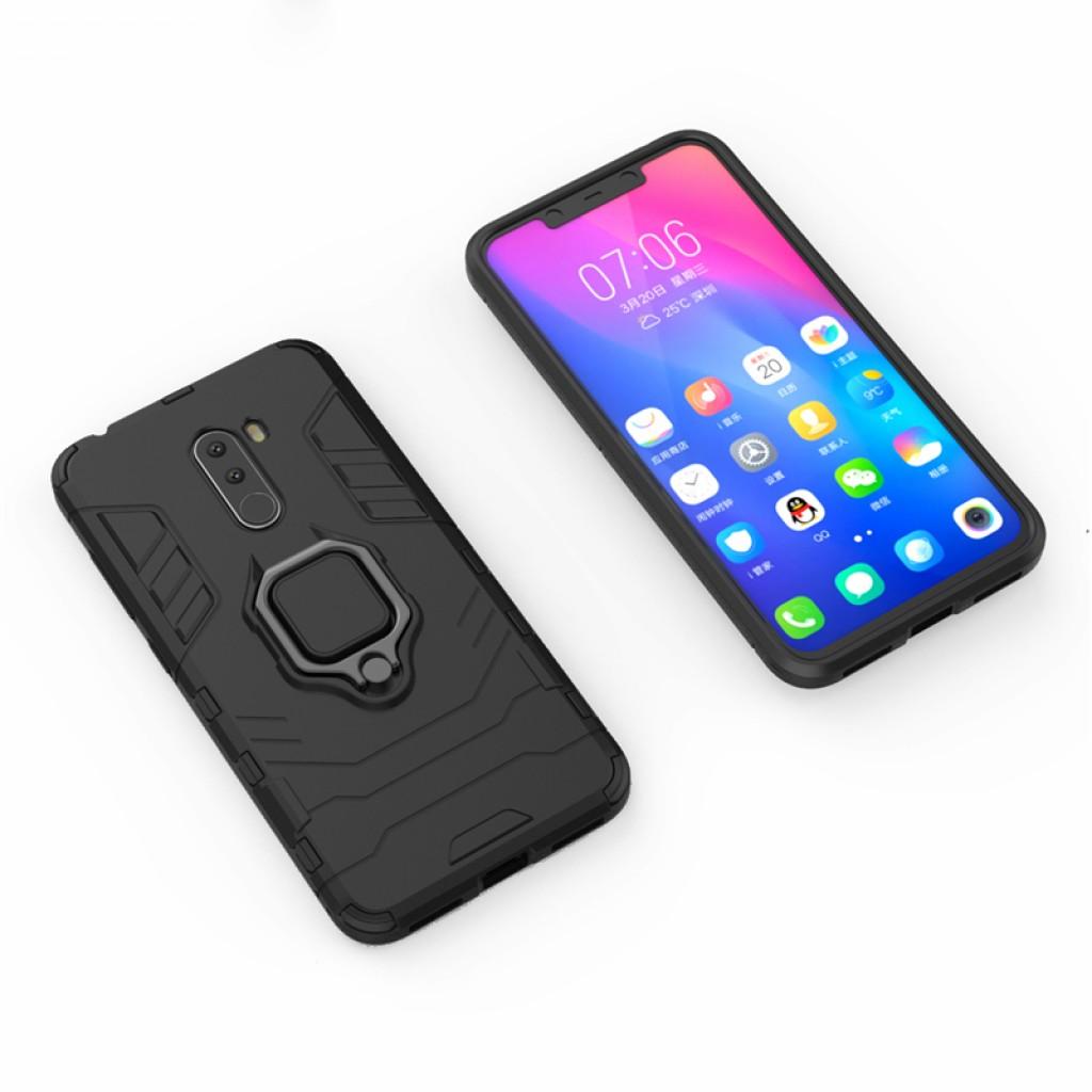 كفر شاومي بوكوفون اف 1 Xiaomi Pocophone F1 كفر متين بغطاء خلفي صلب مع مسكة خاتم - اسود