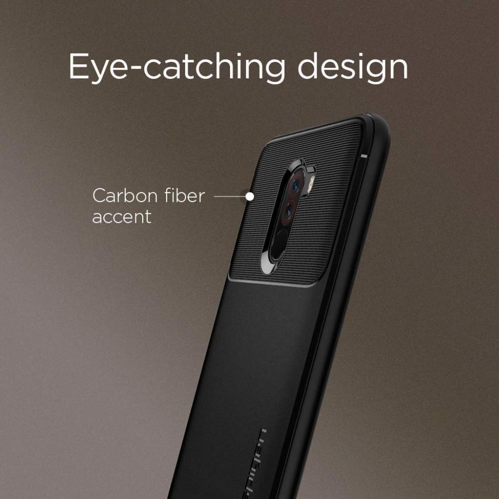 كفر شاومي بوكوفون اف 1 Xiaomi Pocophone F1 ماركة سبايجن Spigen مرن بالكامل - اسود