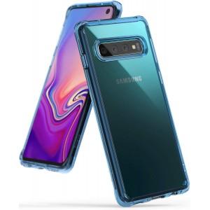 كفر جالكسي اس 10 Galaxy S10 ماركة رينجكي Ringke صلب من الخلف وإطار مرن - سماوي شفاف
