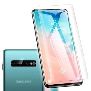 واقي شاشه زجاجي -استكر زجاج- جالكسي اس 10 Galaxy S10 واستكر للكاميرا وضوح عالي مقاوم التبقع - 1 حبة للشاشة و1 حبة للكاميرا
