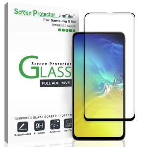 واقي شاشه زجاجي -استكر زجاج- جالكسي اس 10 إي Galaxy S10e ماركة أم فيلم amFilm وضوح عالي مقاوم التبقع - لون الحواف اسود