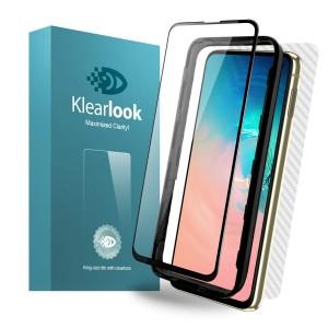 واقي شاشه زجاجي -استكر زجاج- جالكسي اس 10 إي Galaxy S10e ماركة كليرلوك Klearlook وضوح عالي مقاوم التبقع - لون الحواف اسود
