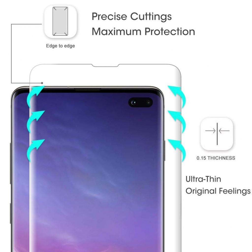 واقي شاشه -استكر- جالكسي اس 10 بلس Galaxy S10 Plus ماركة ايونوز AUNEOS للشاشة والخلفية وضوح عالي مقاوم التبقع - 2 حبتين للشاشة و 1 حبة للخلفية