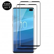 واقي شاشه -استكر- جالكسي اس 10 بلس Galaxy S10 Plus وضوح عالي مقاوم التبقع - لون الحواف اسود - 2 حبتين