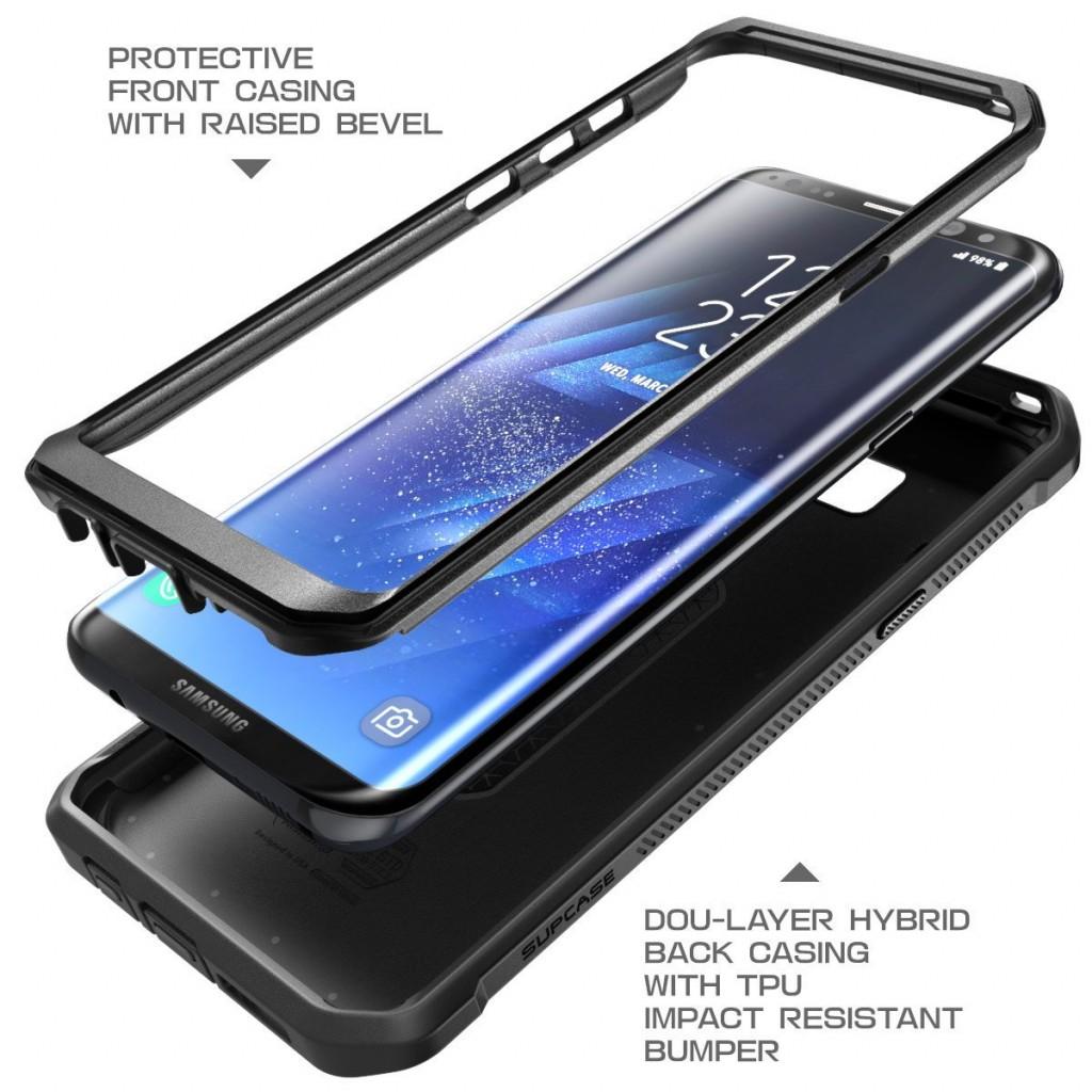 كفر جالكسي اس 8 بلس Galaxy S8 plus ماركة سبكيس Supcase كفر متين بغطاء أمامي للشاشة - اسود