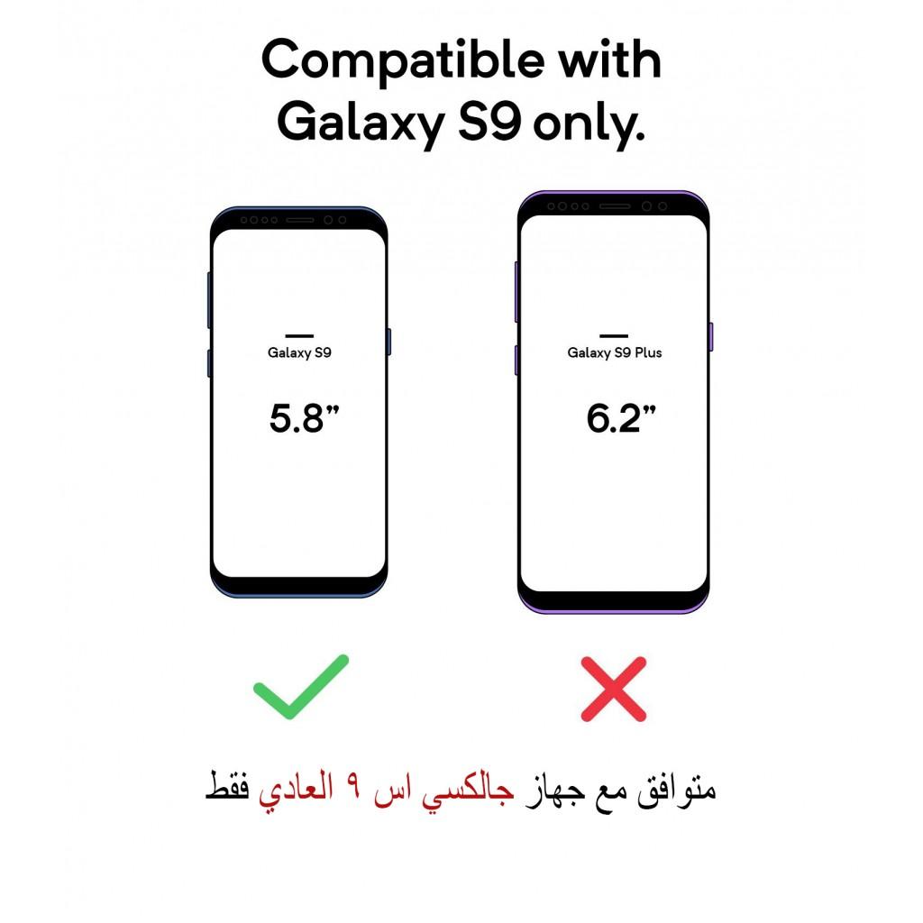 جراب جالكسي اس 9 Galaxy S9 ماركة سبايجن Spigen محفظة جلد مع مكان للبطاقات وستاند - اسود