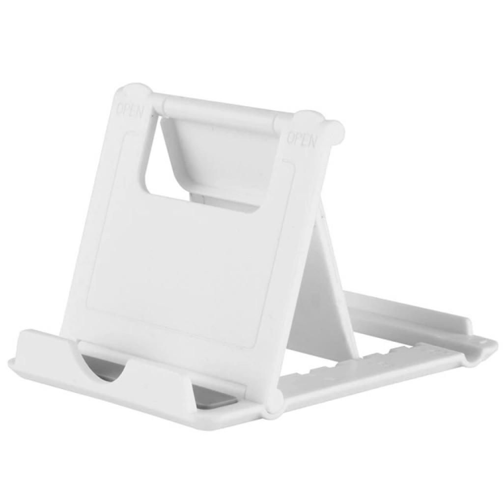 ستاند بلاستك للأجهزة الذكية, ستاند مكتبي, متوافق مع جميع الاجهزة - ابيض