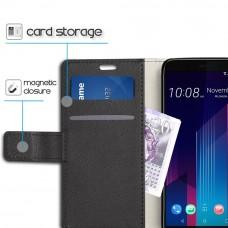 جراب اتش تي سي يو 11 بلس HTC U11 Plus ماركة سليو SLEO محفظة جلد مع مكان للبطاقات وستاند - اسود
