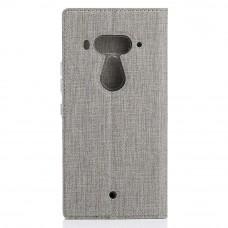 جراب اتش تي سي يو 12 بلس HTC U12 Plus محفظة فليب مع ستاند ومكان للبطاقات - رمادي