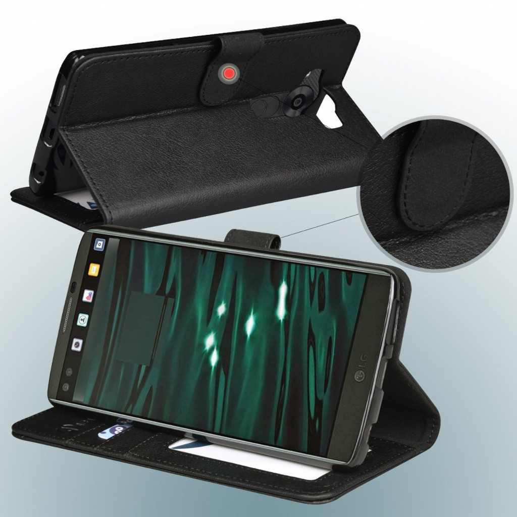 جراب ال جي في 10 LG V10 محفظة جلد مع مكان للبطاقات وستاند - اسود