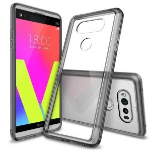 كفر ال جي في 20 LG V20 ماركة رينجكي Ringke صلب من الخلف وإطار مرن - رمادي شفاف